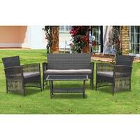 IDS Home 4 Pieces Patio Furniture Dining Set Garden Outdoor Indoor Furniture Set Rattan Wicker White Cushion Seat