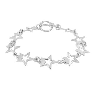 Handmade Cute and Trendy Linked Stars 7.25 Sterling Silver Bracelet (Thailand)