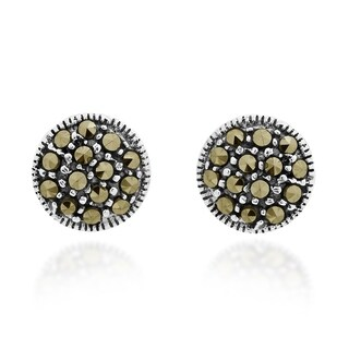 Handmade Simple Dome Marcasite .925 Silver Stud Earrings (Thailand)