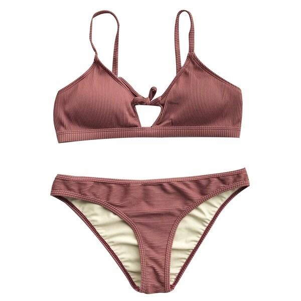 e4dddddc02 Shop Cupshe Women's Solid Color Front Tie Two Pieces Bikini Set Low ...