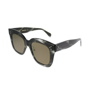 Celine Square CL 41444 Kim 0GQ QS Women Havana Grey Frame Brown Lens Sunglasses