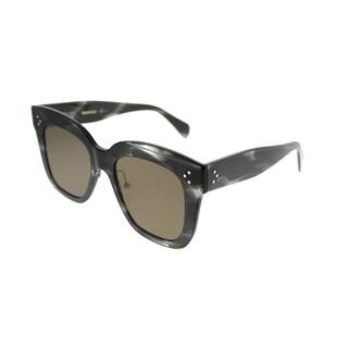 Celine Square CL 41444 Kim 0GQ QS Women Havana Grey Frame Brown Lens Sunglasses