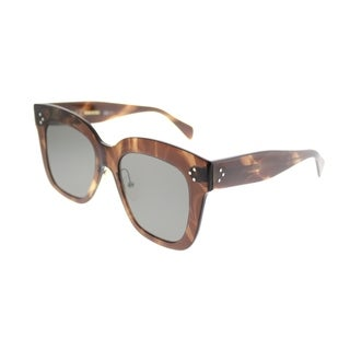 Celine Square CL 41444 Kim 07B Women Brown Havana Frame Grey Lens Sunglasses