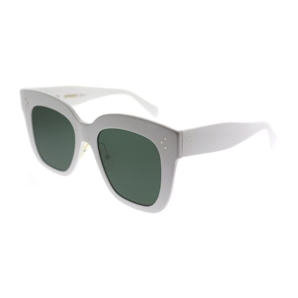4454670a16b3b Celine Square CL 41444 Kim RZ7 Women White Frame Green Lens Sunglasses