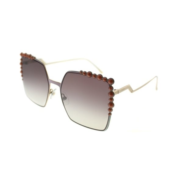 88dad62da901 Fendi Square FF 0259 35J Womens Pink Frame Brown Mirror Gradient Lens  Sunglasses