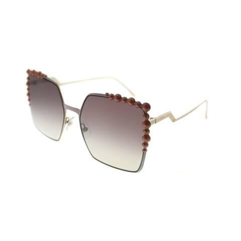 e577a8672aad8 Fendi Square FF 0259 35J Womens Pink Frame Brown Mirror Gradient Lens  Sunglasses