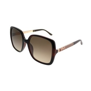 Jimmy Choo Square JC Chari 9N4 Women Havana Gold Frame Brown Gradient Lens Sunglasses