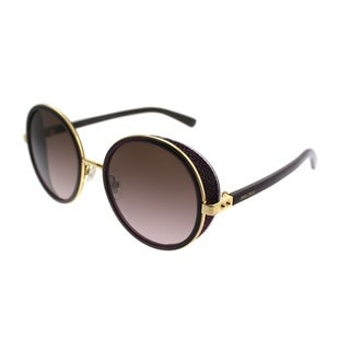 Jimmy Choo Round JC Andie/N 1KJ Women Gold Violet Plum Frame Rose Gradient Lens Sunglasses