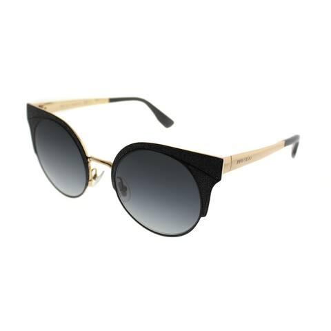 Jimmy Choo Cat-Eye JC Ora 1KK Women Black Glittered Frame Grey Gradient Lens Sunglasses