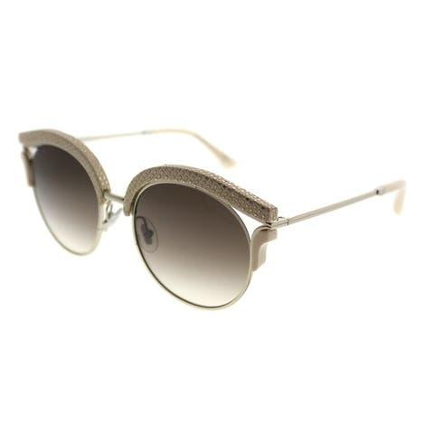 Jimmy Choo Cat-Eye JC Lash PTF Women Light Gold Frame Brown Gradient Lens Sunglasses