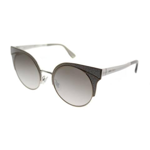 Jimmy Choo Cat-Eye JC Ora 1KL Women Matte Beige Frame Gold Mirror Lens Sunglasses