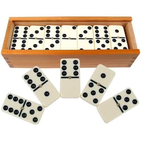 Hey! Play! Premium Set of 28 Double Six Dominoes - White