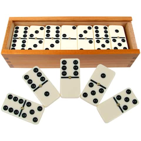Hey! Play! Premium Set of 28 Double Six Dominoes - White
