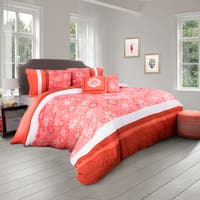 Orange Floral 5 Piece Comforter Set