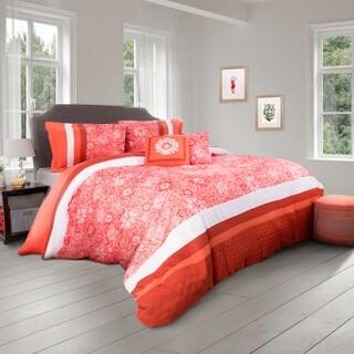 Orange Floral 5 Piece Comforter Set