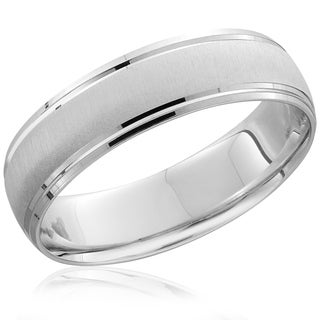 Bliss 14k White Gold Mens Brushed 6MM Ring Wedding Band