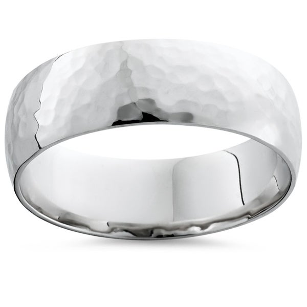 Bliss 10k White Gold Mens Hammered High Polished 7mm Ring Wedding Band