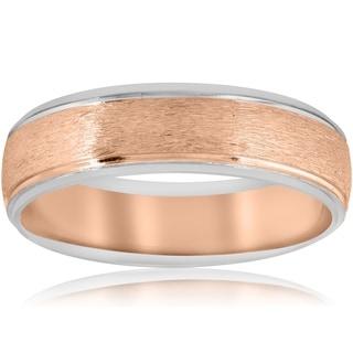 Pompeii3 14k White & Rose Gold Two Tone Brushed Mens 6mm Wedding Ring Band
