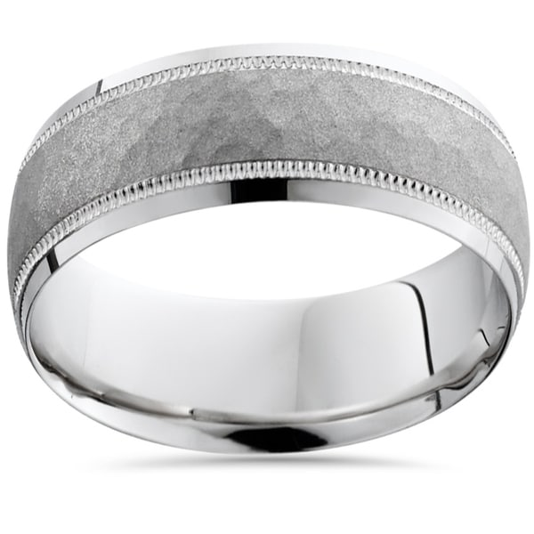 Shop Bliss 10k White Gold Mens Brushed Hammered 8MM Ring