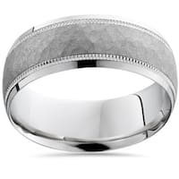 Bliss 10k White Gold Mens Brushed Hammered 8MM Ring Wedding Band Comfort Fit