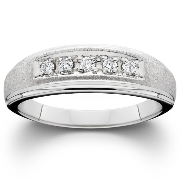 Shop Bliss 10k White Gold 1/5 Ct TDW Diamond Mens Brushed
