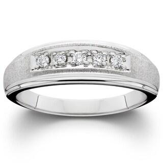 Bliss 10k White Gold 1/5 ct TDW Diamond Mens Brushed Ring Wedding Anniversary Band