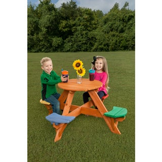 Kids Round Wooden Picnic Table- Multicolor Seats