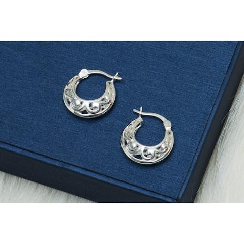 Pori Jewelers Sterling Silver Openworks Hoop Earrings - Sterling Silver