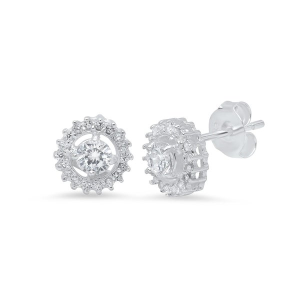 Pori Jewelers Sterling Silver Halo Stud Earrings Wcrystals By Swarovski Elements