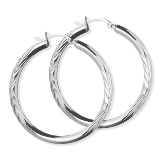 Pori Jewelers Sterling Silver Diamond-cut Hoop earrings - Sterling Silver