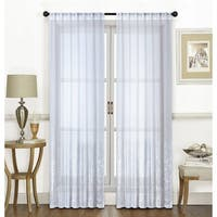 Dainty Home Ombre Lace Metallic Sheer Fabric Rod Pocket Window Curtain Panel Pair