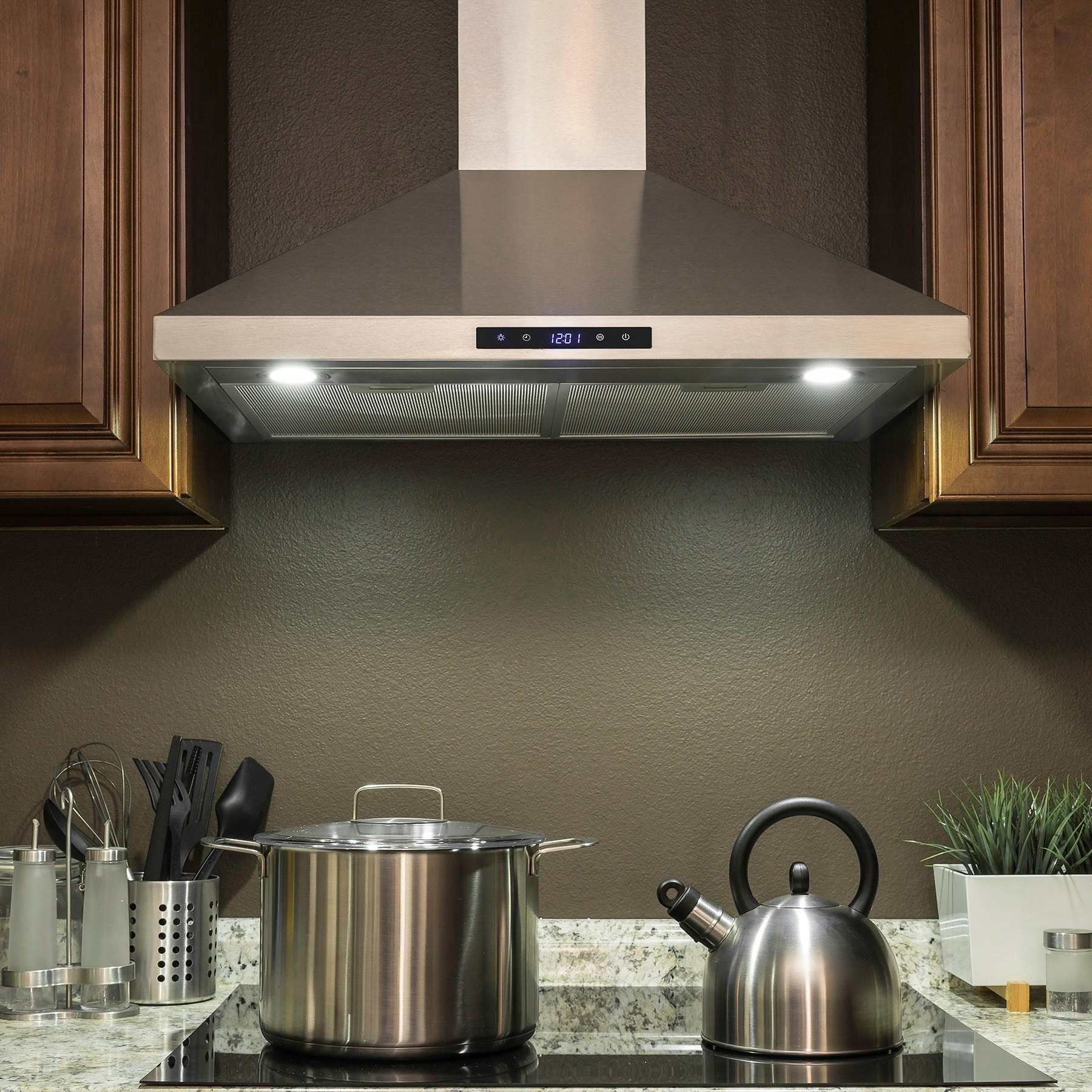 36 Stainless Steel Wall Mount Range Hood Touch Control W Mesh Filters And Clock Ranges Cooking Appliances Major Appliances