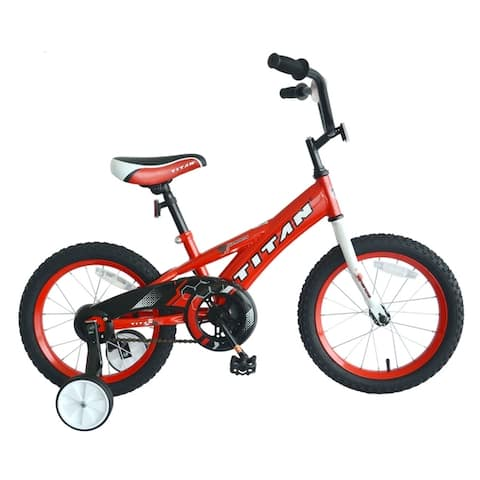 TITAN Champion Boy's BMX Bike with 16-Inch Wheels and Training Wheels, Blue