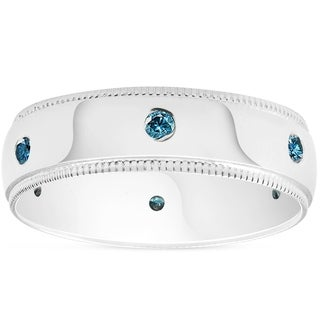Bliss 10k White Gold 1/5 ct TDW Blue Diamond Mens Brushed 6MNM High Polished Ring Wedding Anniversary Band