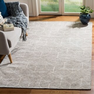 Safavieh Couture Hand-Knotted Stone Wash Contemporary Silver Rayon Rug - 4' x 6'