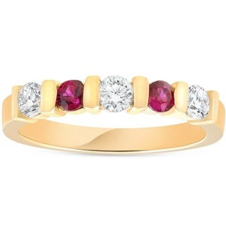 Bliss 14k Yellow Gold 1/2 ct TDW Diamond & Ruby Stackable Ring Womens Wedding Anniversary Five Stone Band - White