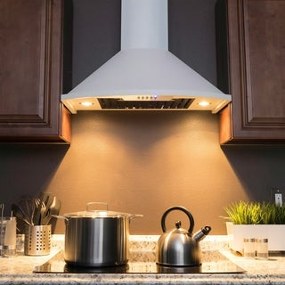 """AKDY 30"""" Wall Mount White Painted Stainless Steel Range Hood with Push Panel"""