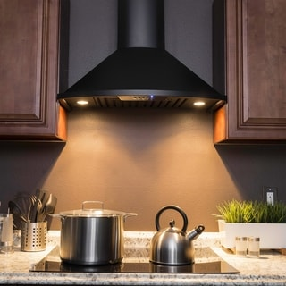 "Golden Vantage RH0344 30"" Wall Mount Black Finish Stainless Steel Range Hood Push Button Baffle Filters"