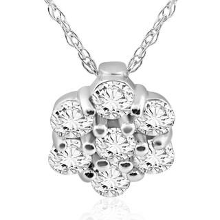 Pompeii3 14k White Gold 1 2 Ct TDW Cluster Halo Diamond Pendant Womens Necklace