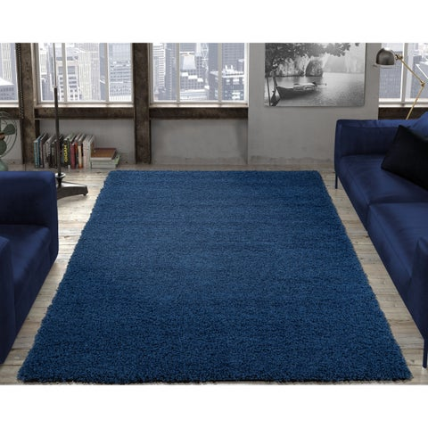 Ottomanson Cozy Solid Color Shag Contemporary Area Rug Navy - 6'7 x 9'6