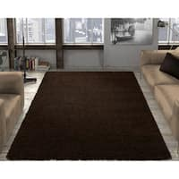"Ottomanson Cozy Solid Color Shag Contemporary Shag Area Rug - 7'10"" x 9'10"""