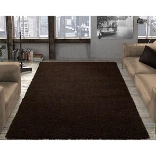 "Ottomanson Cozy Solid Color Shag Contemporary Shag Area Rug - 7'10"" x 9'10"""