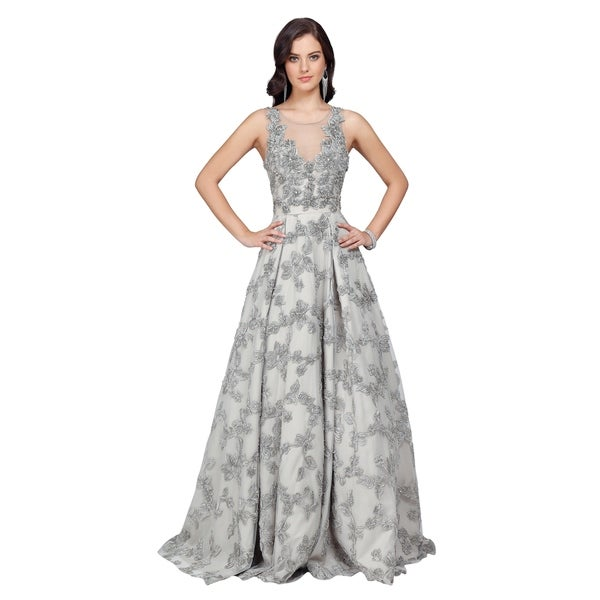 Terani Couture Illusion Neck Sleeveless Low Back Long Ball Gown