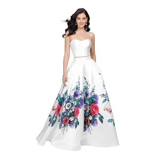 Bright Floral Two Piece Long Dress