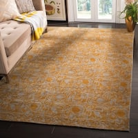 Safavieh Couture Hand-Knotted Contemporary Guilded Blue Wool & Silk Rug - 6' x 9'