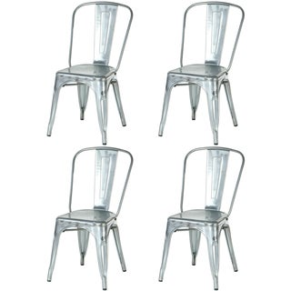 Metal Industrial Style Cafe Side Chair, Galvanized Silver (Set of 4)