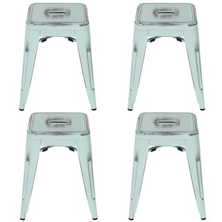 "Metal Industrial 18"" Stool - Distressed Antique Blue (Set of 4)"