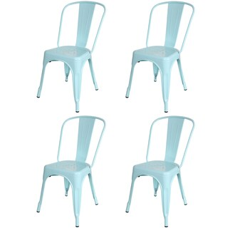 Metal Industrial Style Cafe Side Chair, Light Blue (Set of 4)