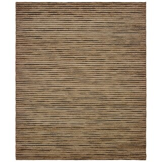 LR Home Topanga Striped Beige Wool and Jute Indoor Area Rug - 5' x 8'