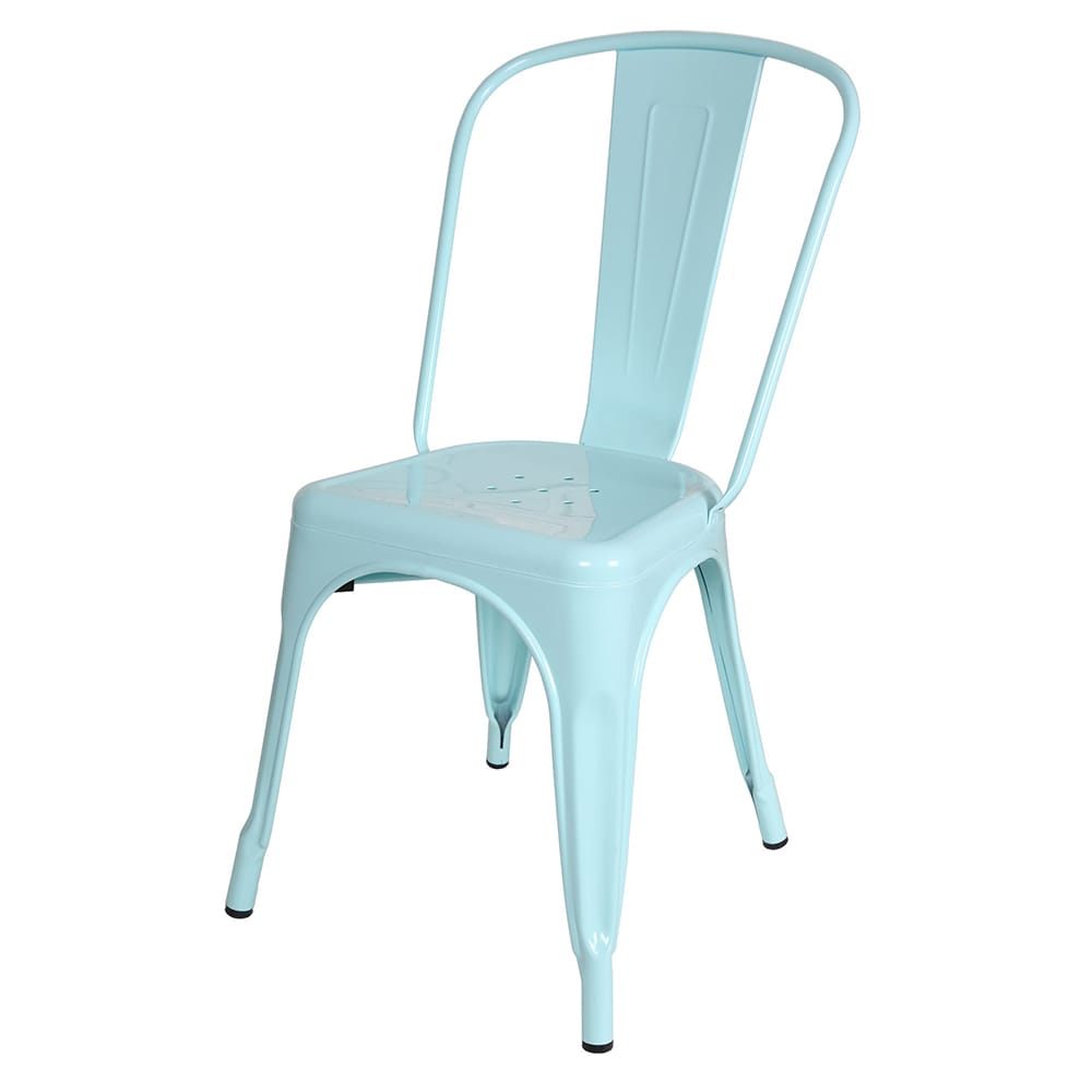Metal Industrial Style Cafe Side Chair, Light Blue